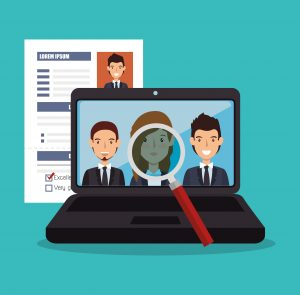 virtual human resources recruit design isolated